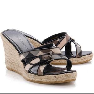 Burburry, wedge, multi house check color, size 7.5